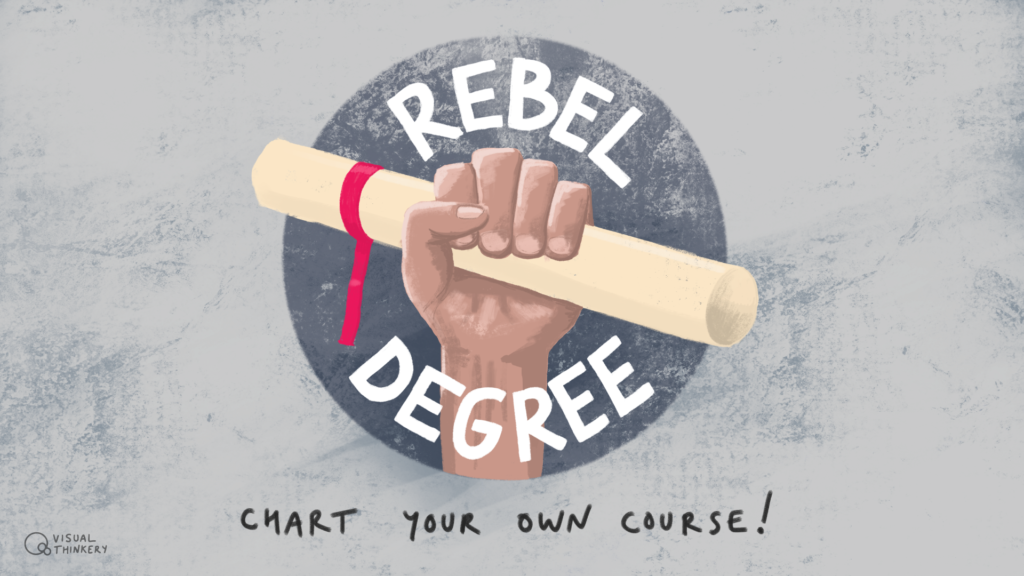Fist holding aloft a degree certificate. Text reads Rebel Degree