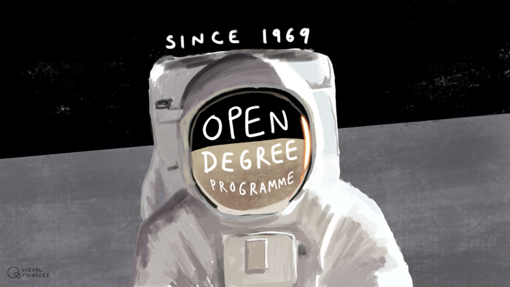 Astronaut on the moon, text reads Since 1969. Open Degree Programme